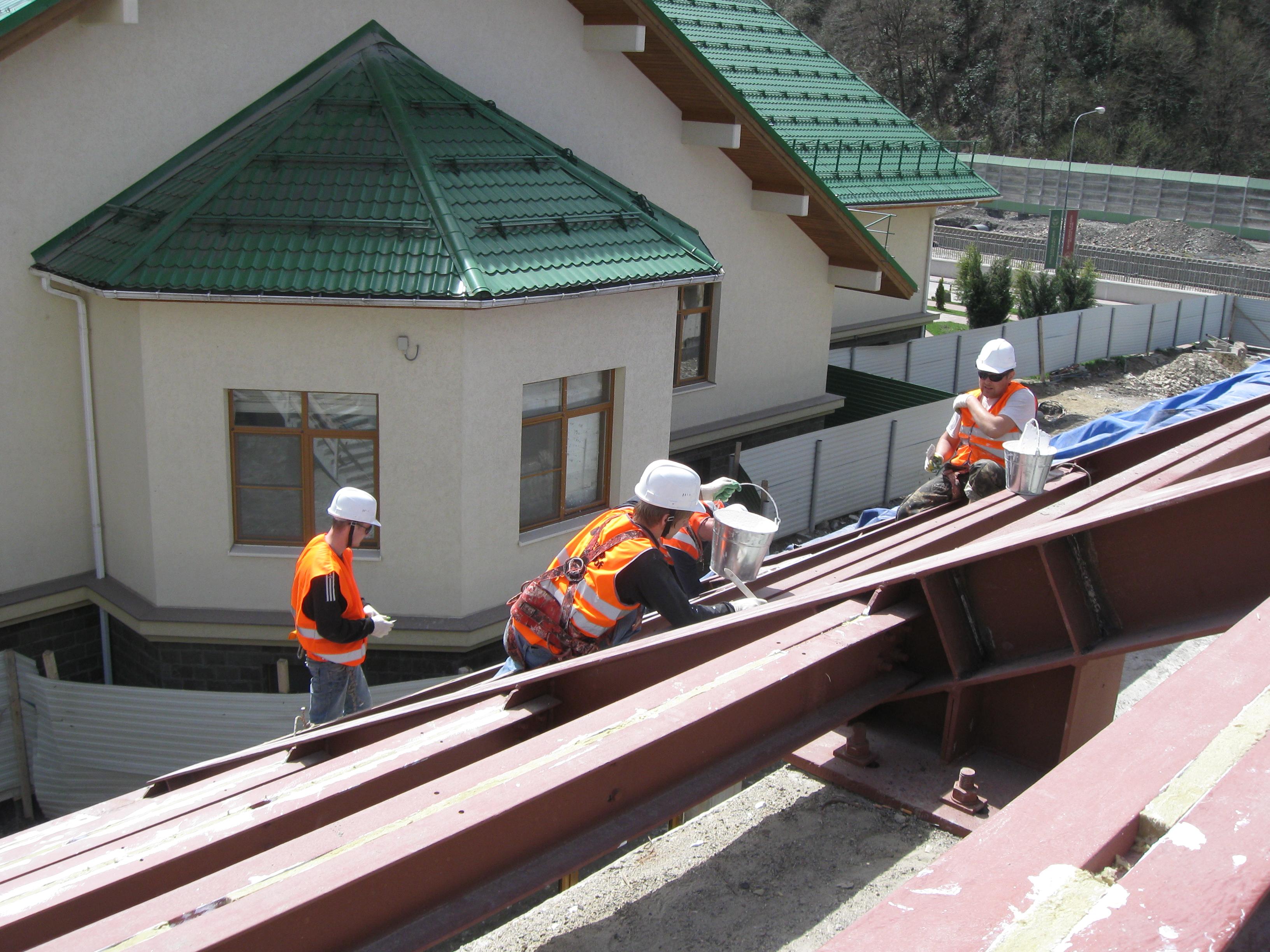 закрытый плавательный бассейн работа по зачеканке проемов, Красная Поляна, Сочи